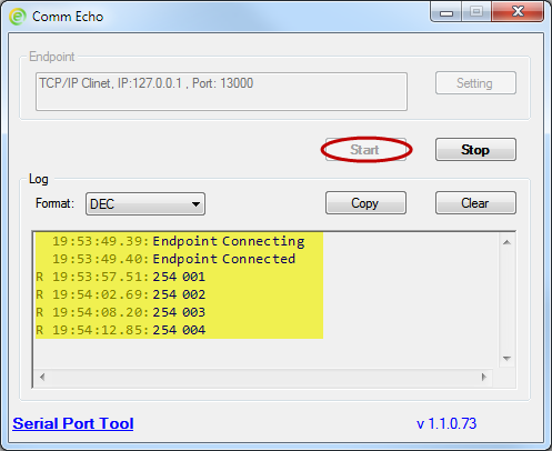 Comm Echo - Free loopback test tool for serial port,TCP/IP