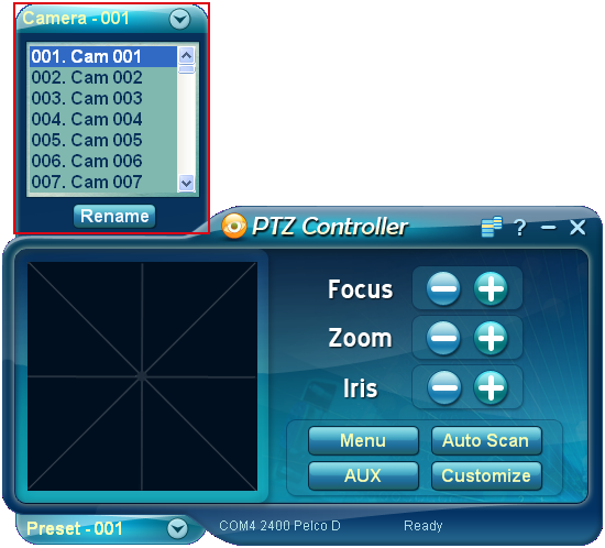 PTZ Controller - Camera Address