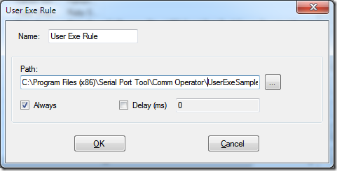 User Exe Rule Dialog