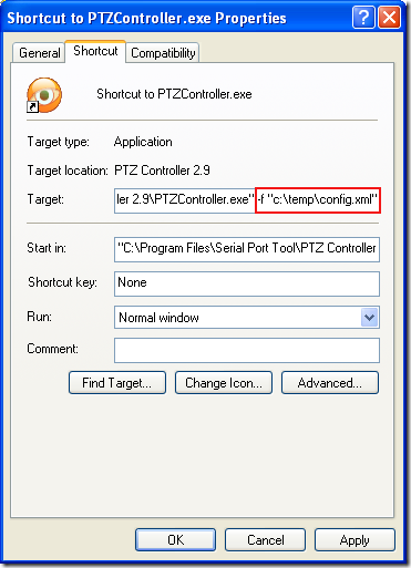 Properties of Shortcut to PTZ Controller