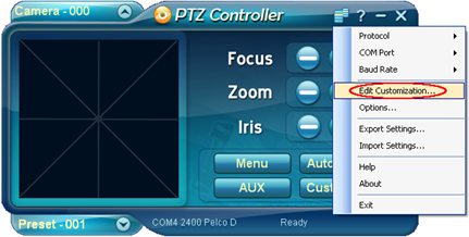 PTZ Controller Edit Customization