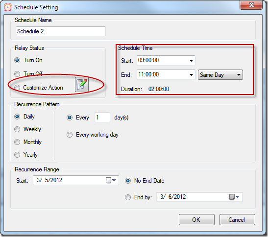 Relay Timer R1X - Schedule Setting