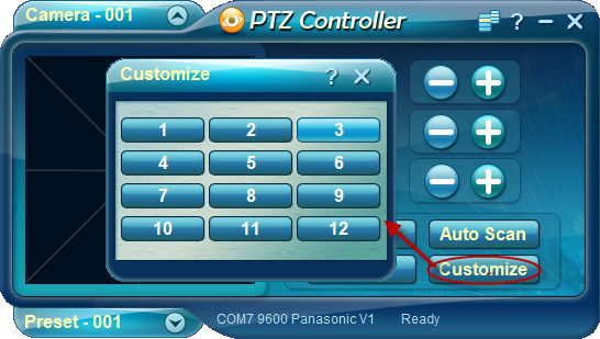 PTZ Controller - Customize Panel