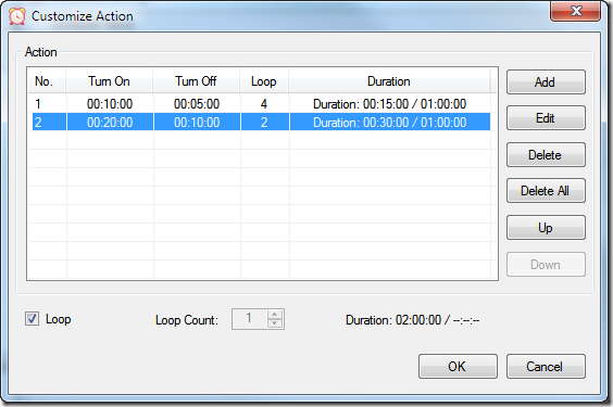Relay Timer R4X - Customize Action