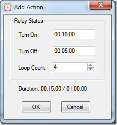 Relay Timer R16X - Add Action