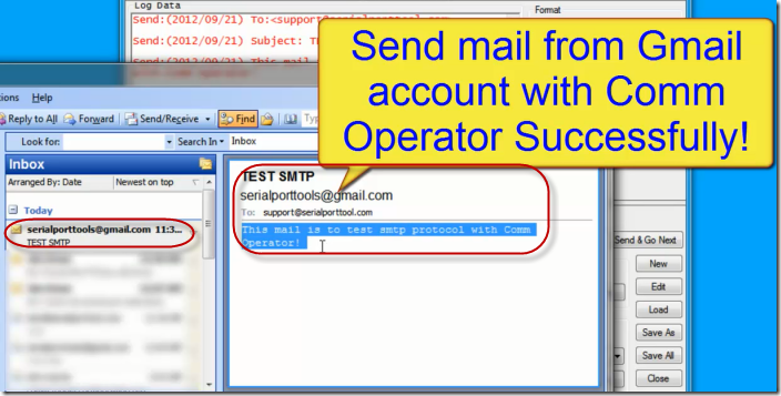 Comm Operator - Send SMTP Gmail Sccessfully
