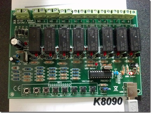 Velleman K8090 8-channel USB relay card