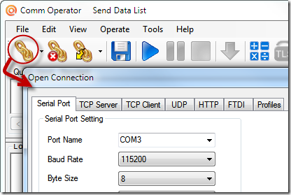 Comm Operator - Open Connection