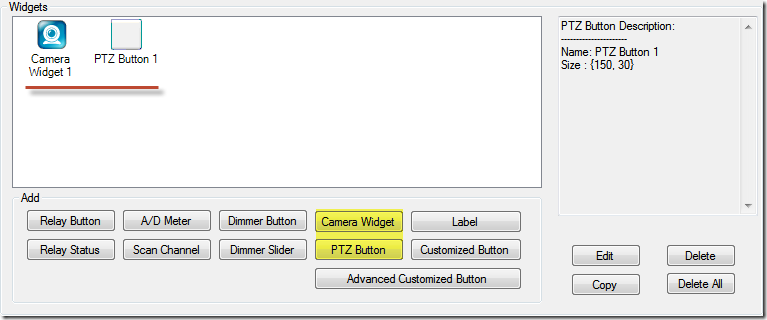 N-Button Camera Widget and PTZ Button