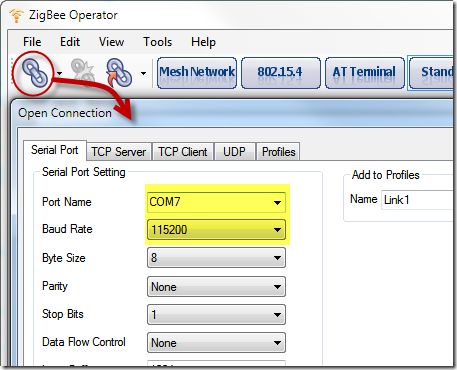 ZigBee Operator - Open Connection
