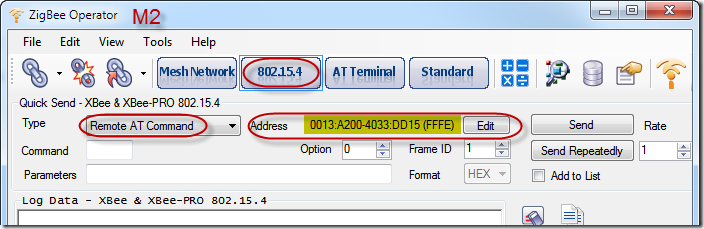 ZigBee Operator - 802.15.4 - Remote AT Command