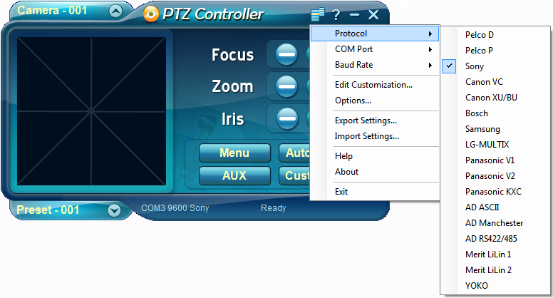 PTZ Controller Software - Protocols