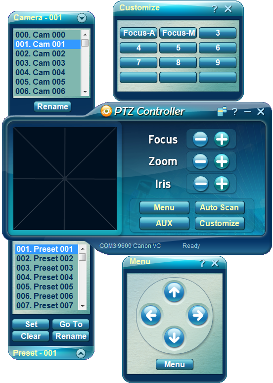 PTZ Controller Software - Panels