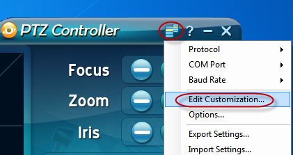 PTZ Controller - Edit Customization