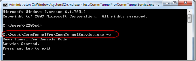 Comm Tunnel Service Command Line Formate
