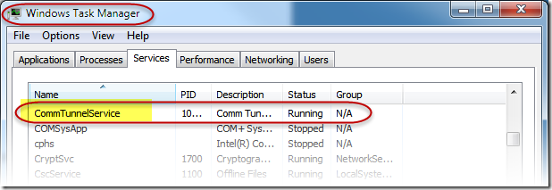Comm Tunnel Service list in Windows Tast Manager
