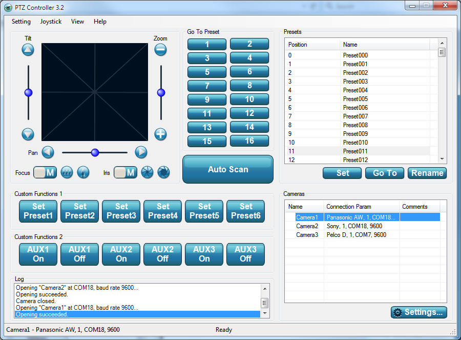 PTZ Controller v3.2  Interface