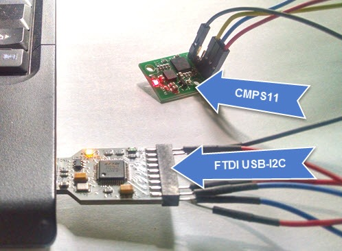 Connect  CMPS11 with Computer by FTDI USB-I2C Bridge