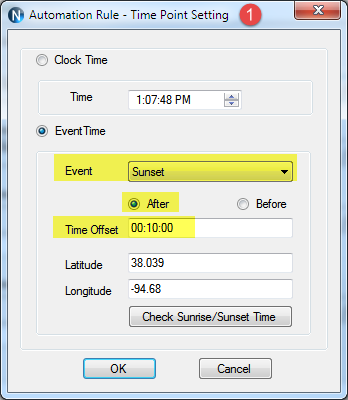 N-Button Automation Control Time Point Setting
