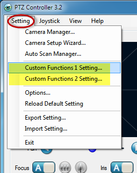 PTZ Controller - Custom Funtions Setting