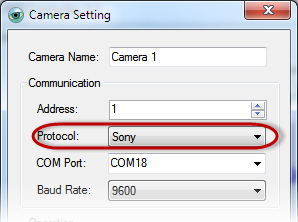 PTZ Controller - Camera Setting - Sony Protocol
