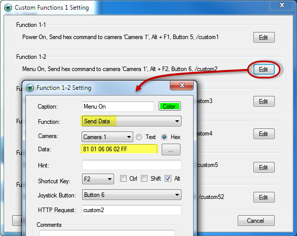 PTZ Controller - Custom Button Funtion Setting