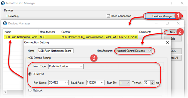 Add USB Push Notification Board to N-Button Device Manager