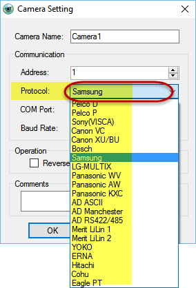 PTZ Controller supports PTZ camera protocols