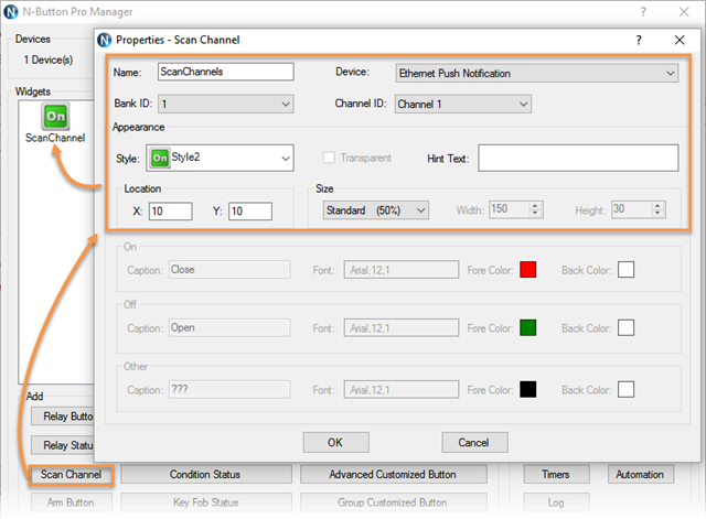 Set Scan Channel for Ethernet push notification board