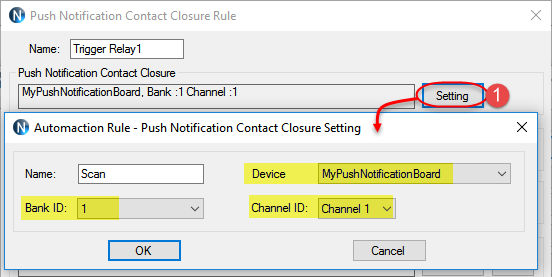 N-Button Automation - Push Notification Contact Closure Rule Setting 1