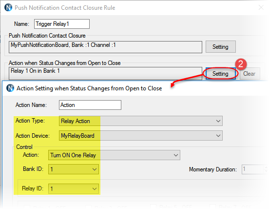N-Button Automation - Push Notification Contact Closure Rule Setting 2