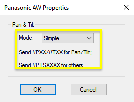 PTZ Controller - Panasonic AW Protocol- Properties - Simple