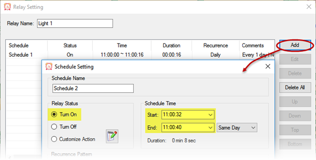 Relay Timer R8X - Automation Control - Schedule Setting