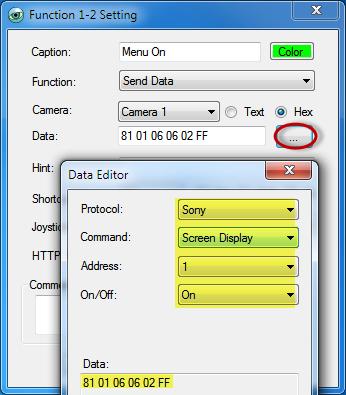 Control Sony VISCA Camera OSD Menu with PTZ Controller